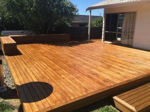 large decking area with raised seating